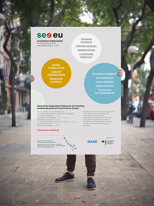 see eu Cluster of Excellence in European and International Law Europainstitut Saarland Corporate Design Mann hält Poster draussen