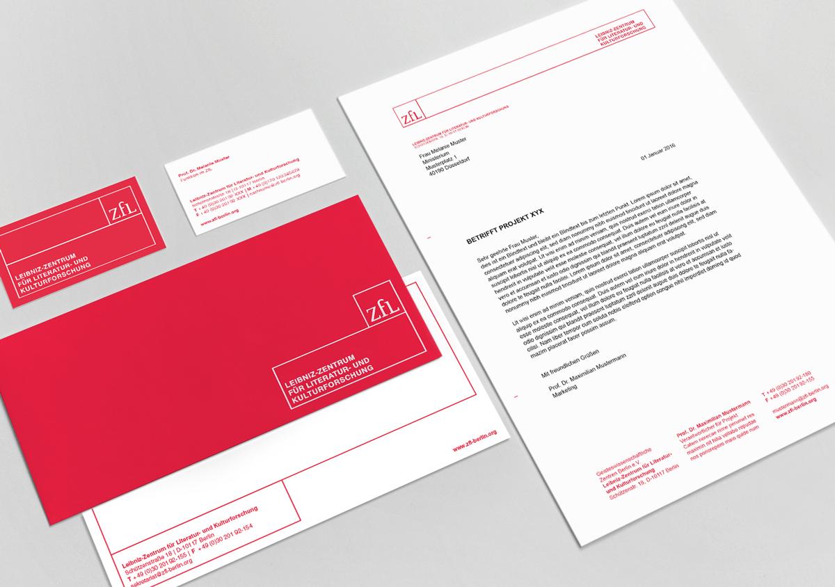 ZfL Leibniz Zentrum fuer Literatur- und Kulturforschung Corporate Design Geschaeftsausstattung Visitenkarte Briefpapier Grußkarte