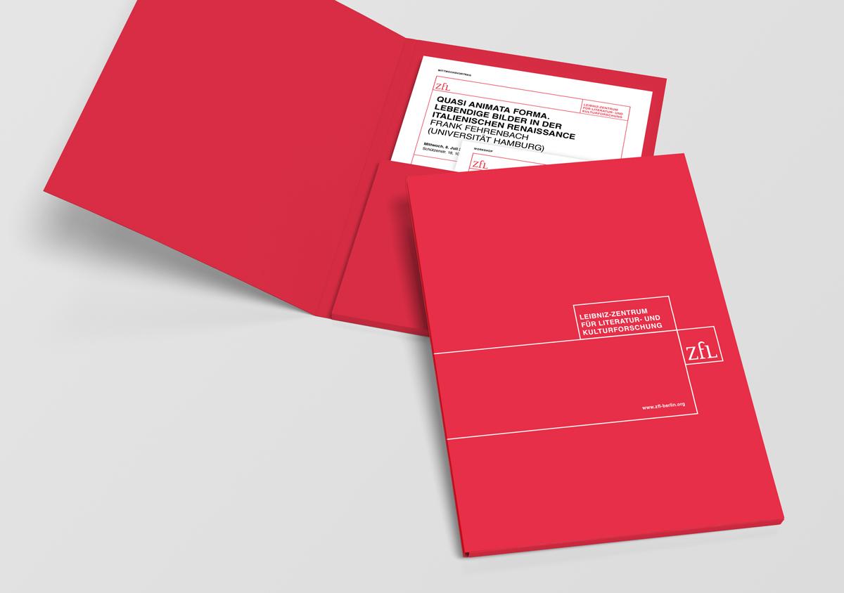 ZfL Leibniz Zentrum fuer Literatur- und Kulturforschung Corporate Design Sammelmappe geschlossen und aufgeklappt