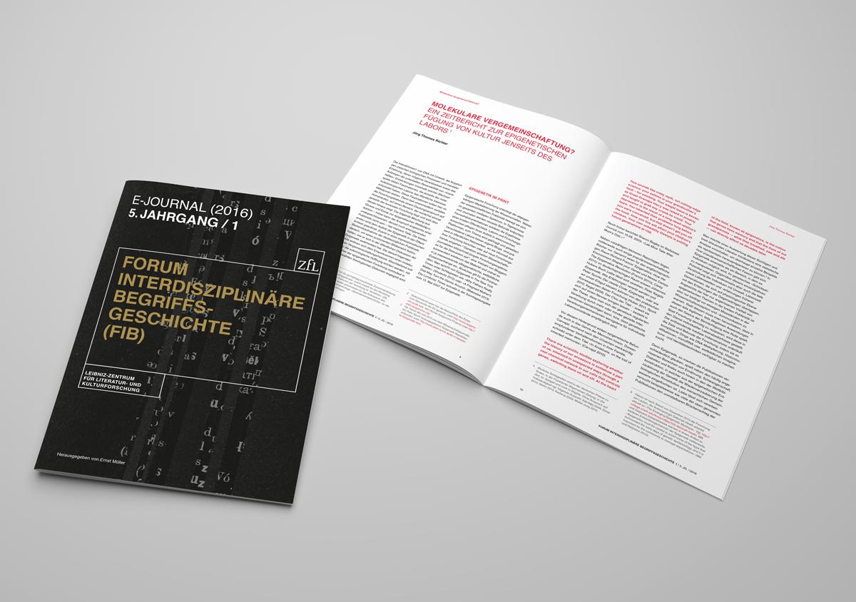 ZfL Leibniz Zentrum fuer Literatur- und Kulturforschung Corporate Design E-Journal Broschuere Cover und Innenseite
