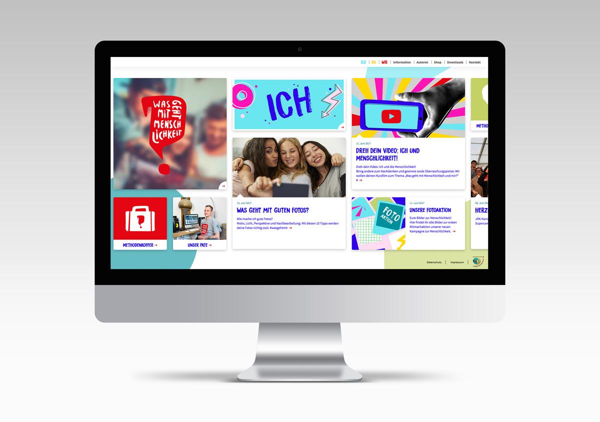 Jugendrotkreuz Was geht mit Menschlichkeit? Kampagne Website Homepage auf dem iMac