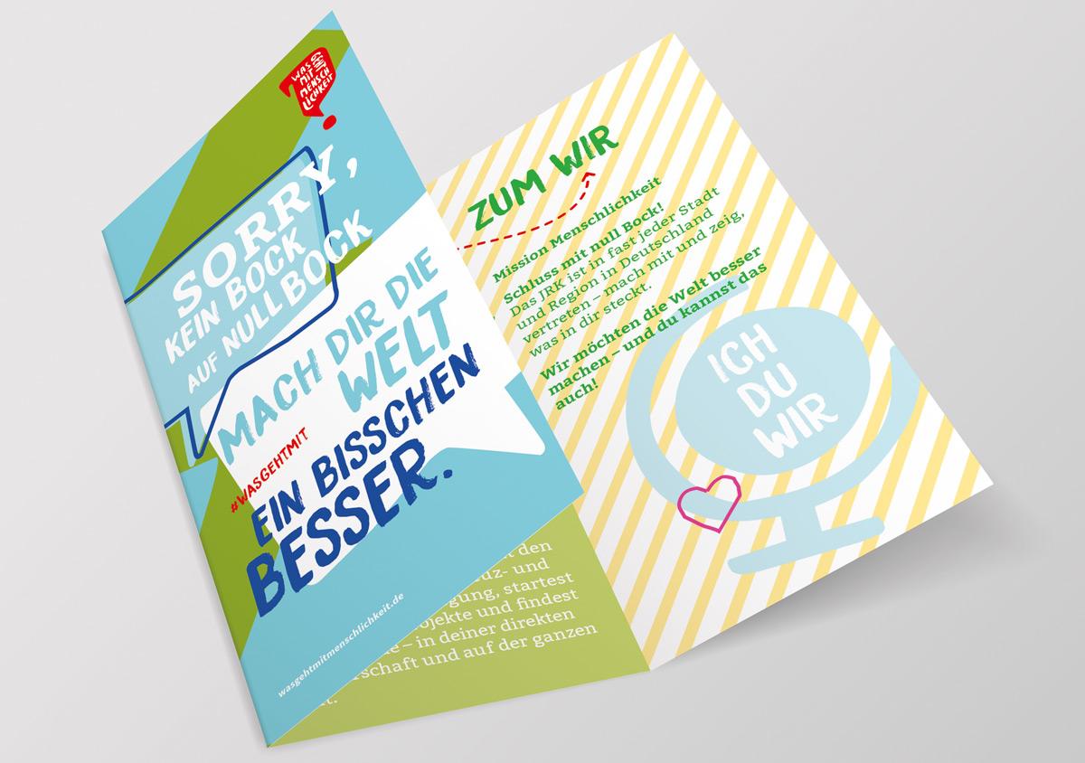 Jugendrotkreuz Was geht mit Menschlichkeit? Kampagne Flyer Din lang sechsseitig aufgeklappt