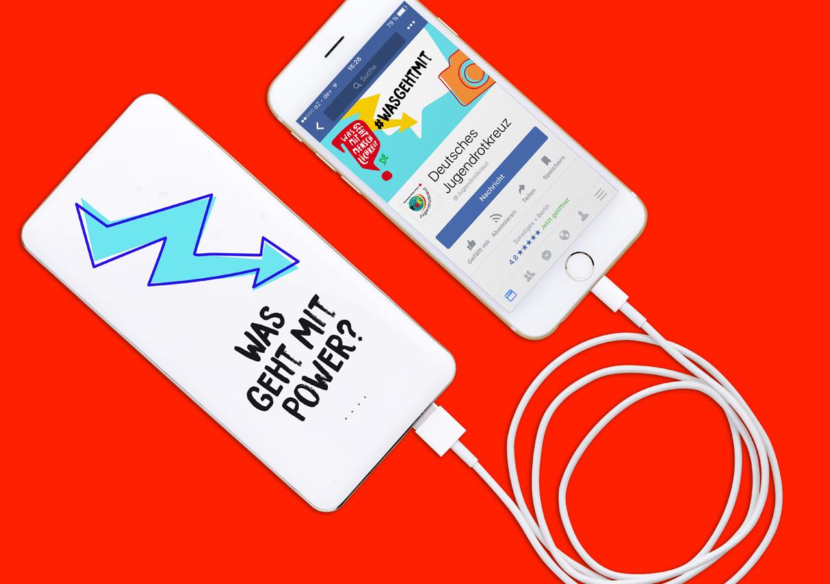 Jugendrotkreuz Was geht mit Menschlichkeit? Kampagne Give Away Powerbank mit Aufschrift Was geht mit power? und Facebook-Seite auf iPhone