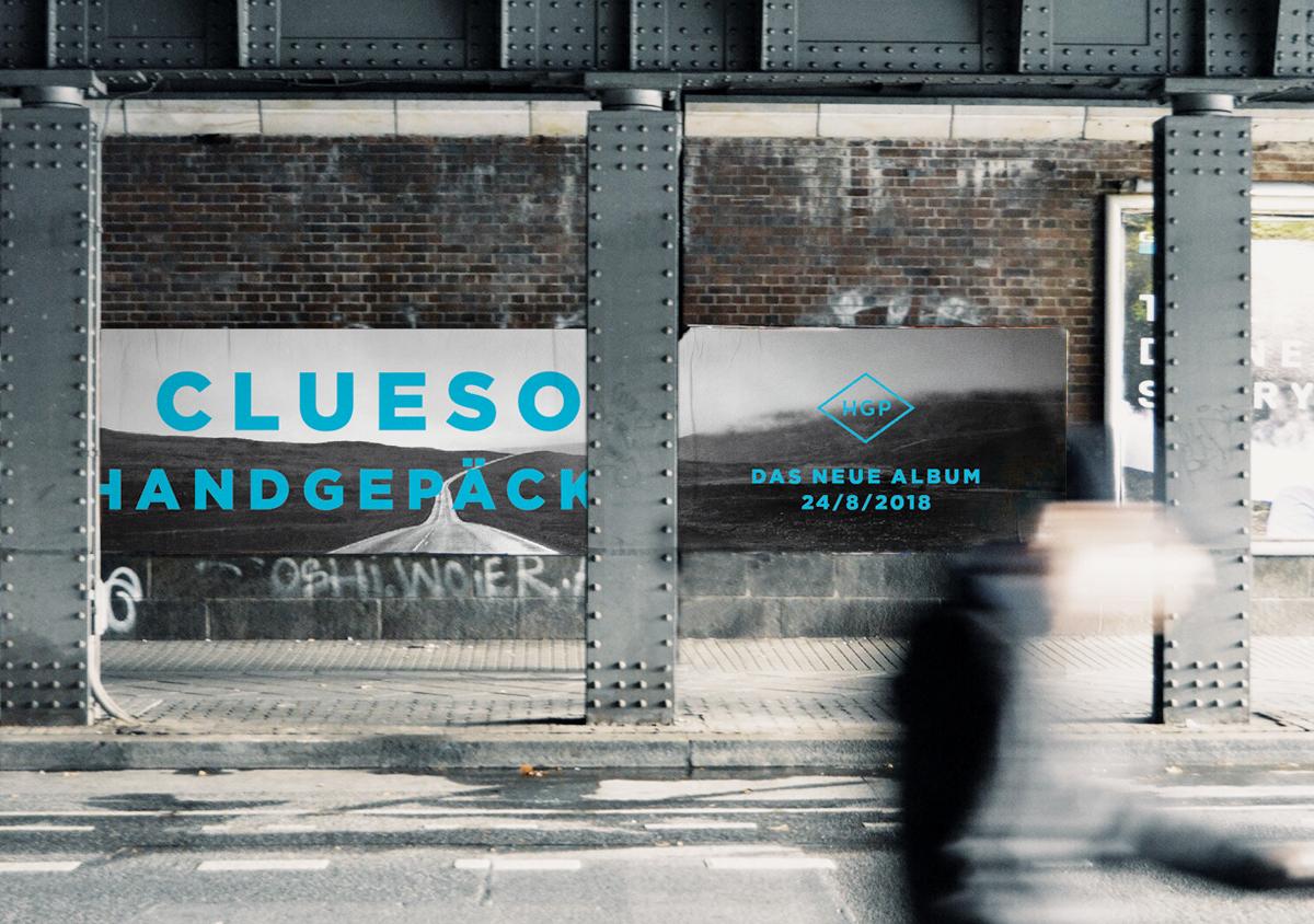Clueso Handgepaeck 1 Album Plakate Wand Unterführung Brueckenpfeiler Strasse