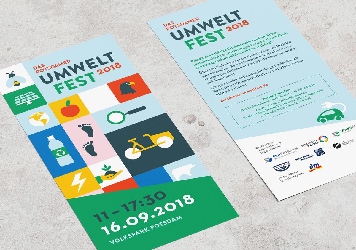 Potsdamer Umweltfest 2018 Volkspark Potsdam Eventgrafik Flyer Din lang Vorderseite mit Keyvisual Icons Rückseite mit Informationen
