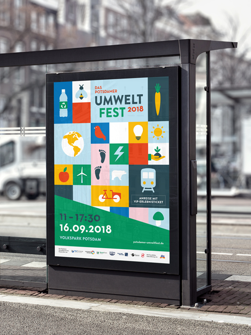 Potsdamer Umweltfest 2018 Volkspark Potsdam Eventgrafik Citylight Poster an Bushaltestelle in der Stadt Keyvisual mit Icons
