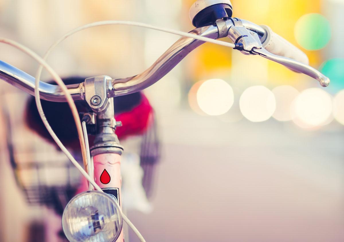 jungesblut spenden dkms gesamtschule kamen corporatedesign Foto Detail Fahrrad Fahrradlenker Unschaerfe