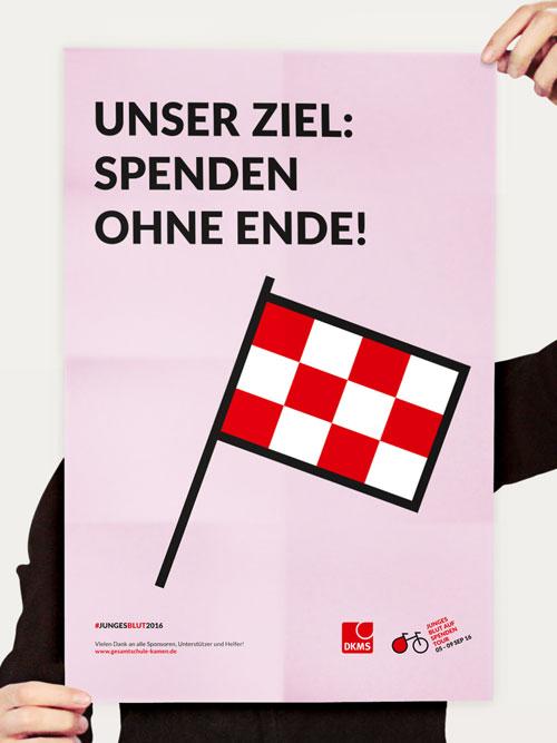 jungesblut spenden dkms gesamtschule kamen corporatedesign rosa plakat Spendenaufruf haende halten plakat Icon rote-weisse Zielflagge rosa Hintergrund