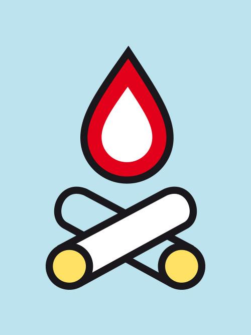 jungesblut spenden dkms gesamtschule kamen corporatedesign Icon Lagerfeuer hellblauer Hintergrund rot gelb weiss