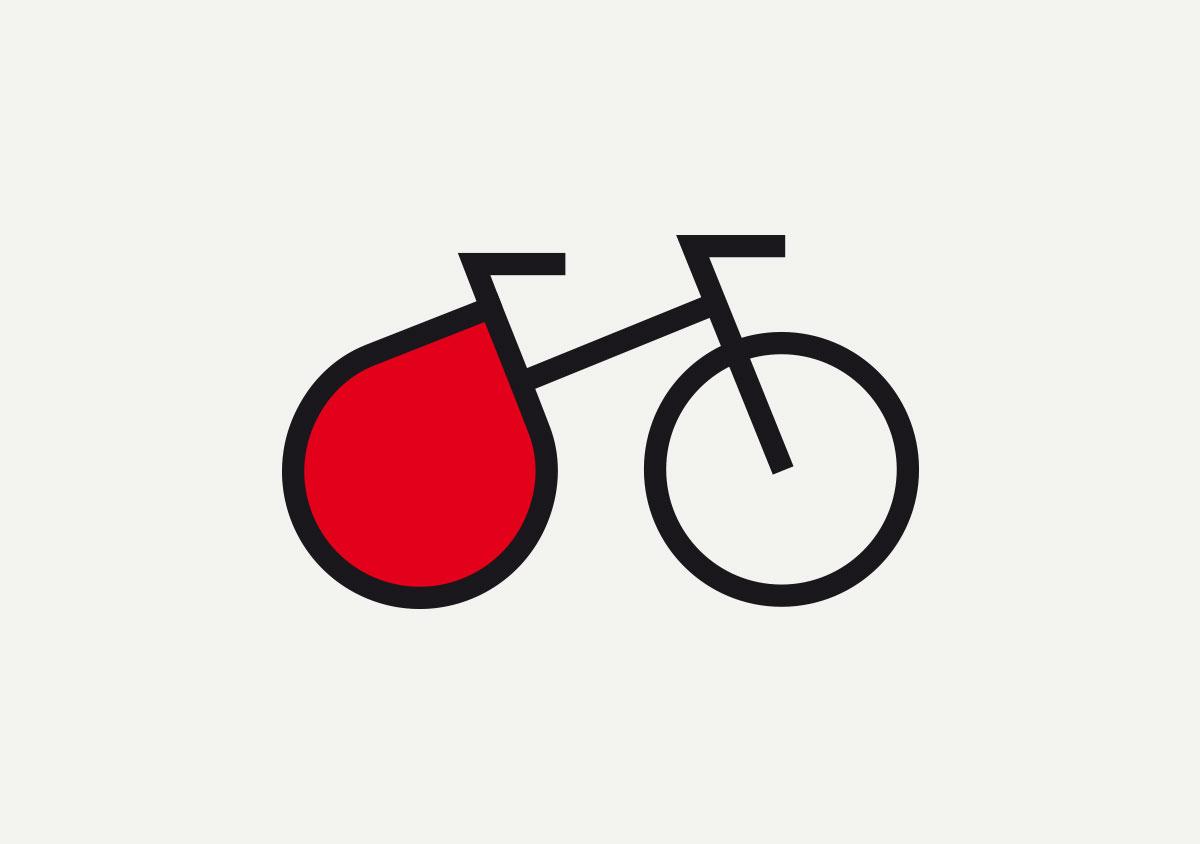 jungesblut spenden dkms gesamtschule kamen corporatedesign logo Bildmarke auf grau Icon Fahrrad kombiniert mit Blutstropfen junges Blut hellgrauer Hintergrund
