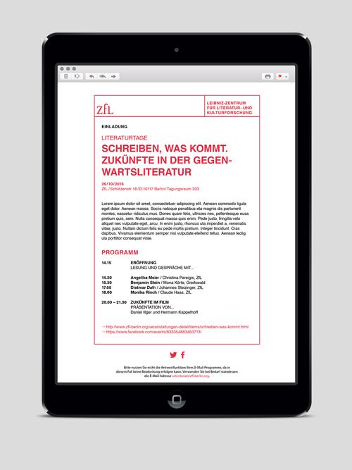 ZfL Leibniz Zentrum fuer Literatur- und Kulturforschung Corporate Design E-Mail-Newsletter auf iPad