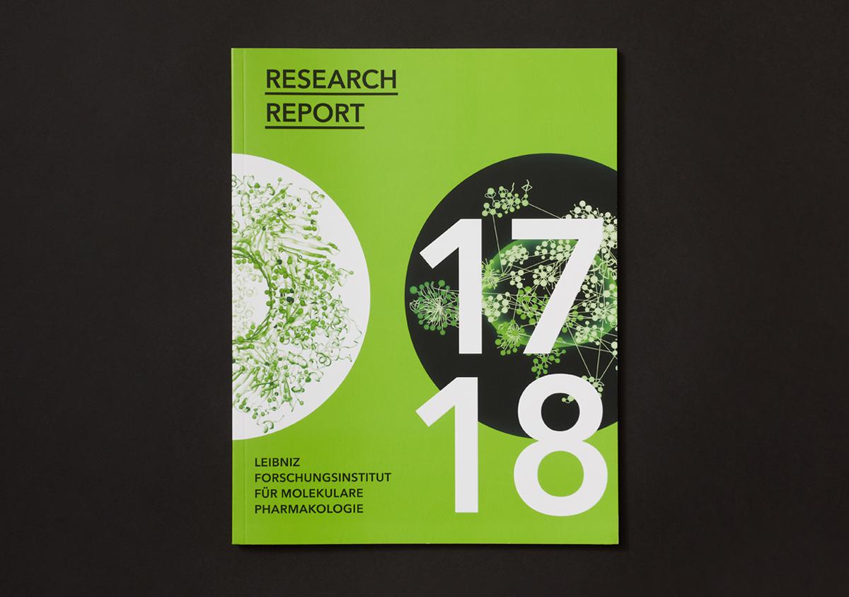 FMP Forschungsbericht 2017/2018 Gruener Titel mit weissem Kreis auf schwarzem Untergrund