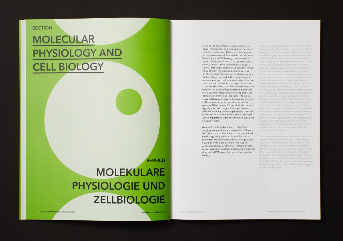 FMP Forschungsbericht 2017/2018 Doppelseite aufgeschlagen auf schwarzem Untergrund linke Seite gruene Trennseite Themenbereich Molecular Physiology and cell biology Kreismuster rechte Seite Text auf weiss
