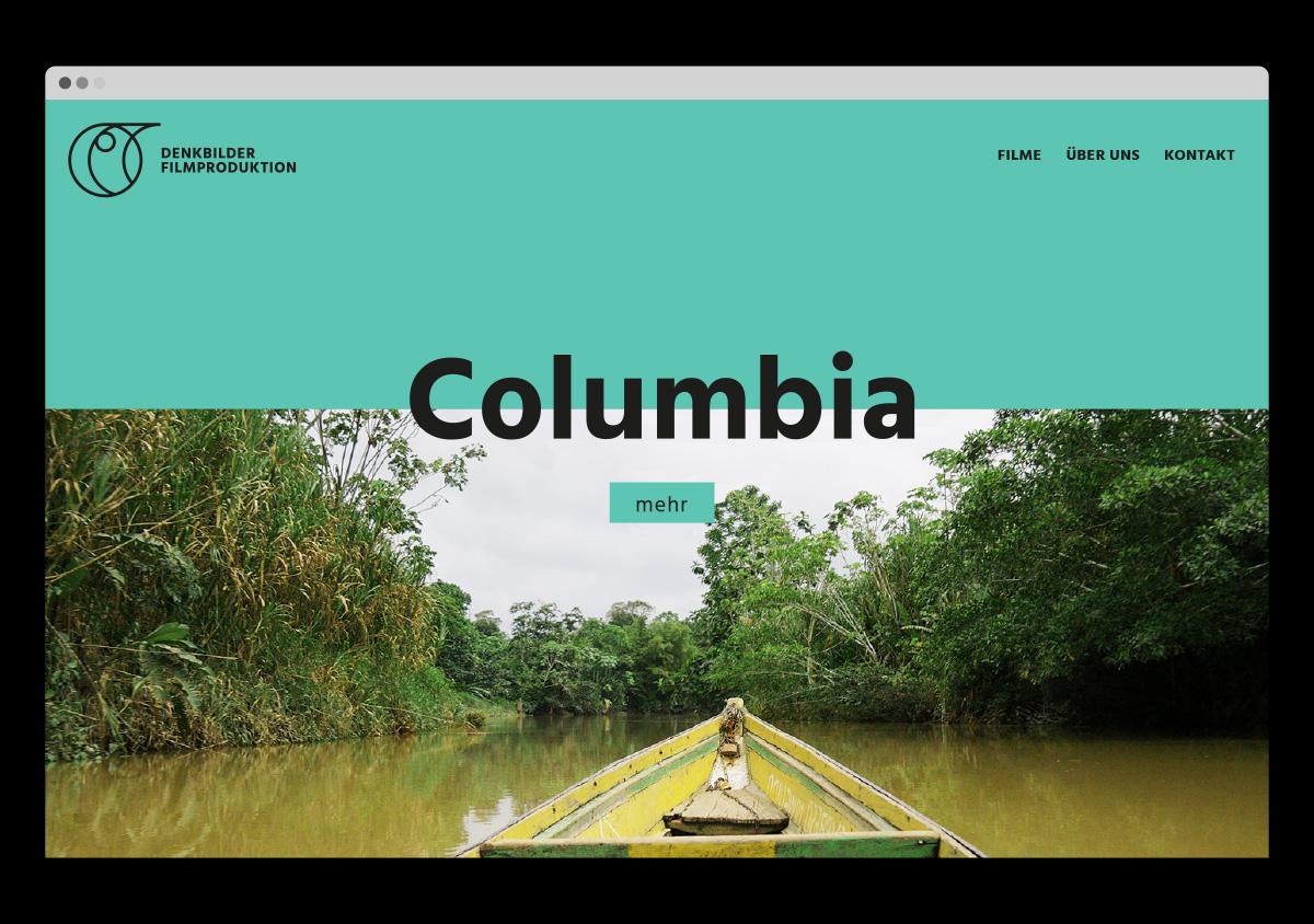 Denkbilder Filmproduktion Website Startseite grüner Header Filmstill Film über Kolumbien
