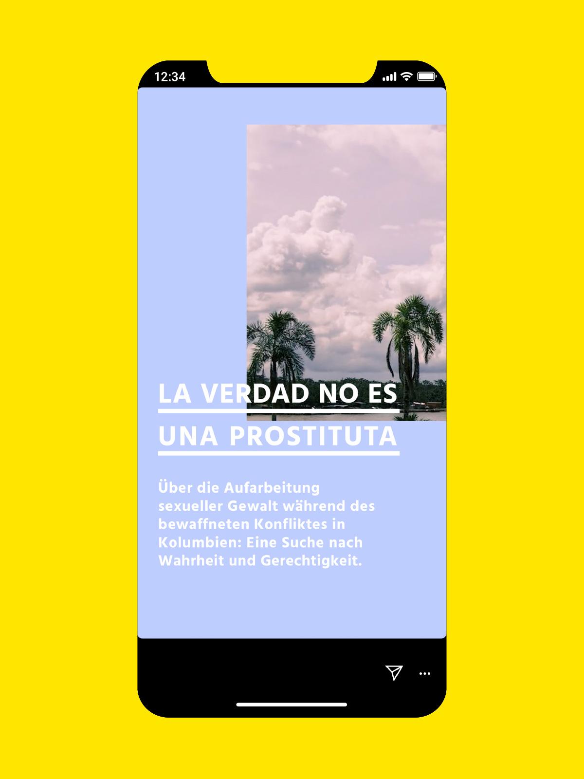 Denkbilder Filmproduktion Website oder Social Media Story Filmstill mit Palmen auf violetter Fläche darüber weißer Text mit unterstrichener Headline