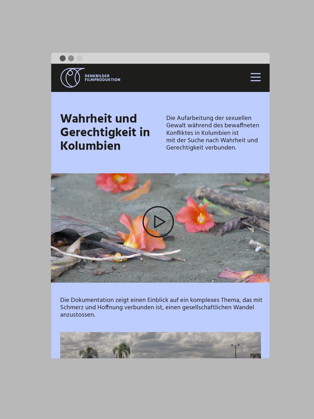 Denkbilder Filmproduktion Website Startseite violetter Hintergrund schwarze Schrift Filmstill link zu Video Logo