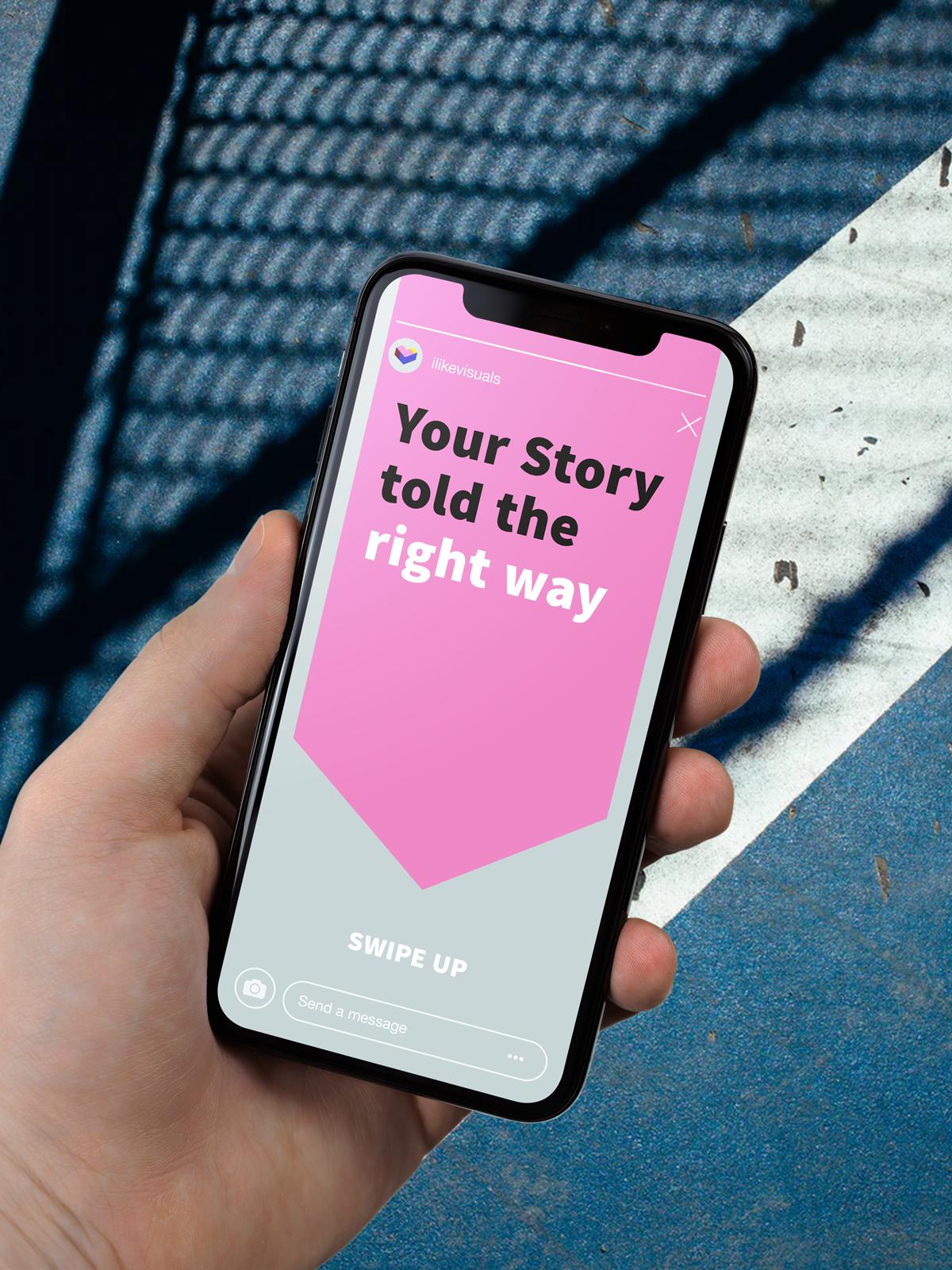 Hand mit Smartphone Instagram Story mit Text